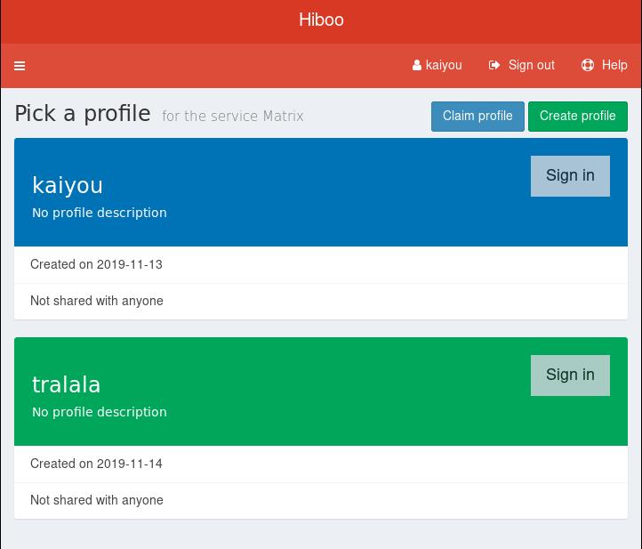 Interface de sélection de profil pour une authentification